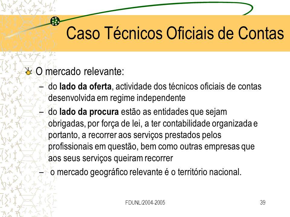 FDUNL/2004-200539 O mercado relevante: –do lado da oferta, actividade dos técnicos oficiais de contas desenvolvida em regime independente –do lado da