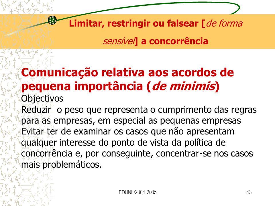 FDUNL/2004-200543 Limitar, restringir ou falsear [de forma sensível] a concorrência Comunicação relativa aos acordos de pequena importância (de minimi