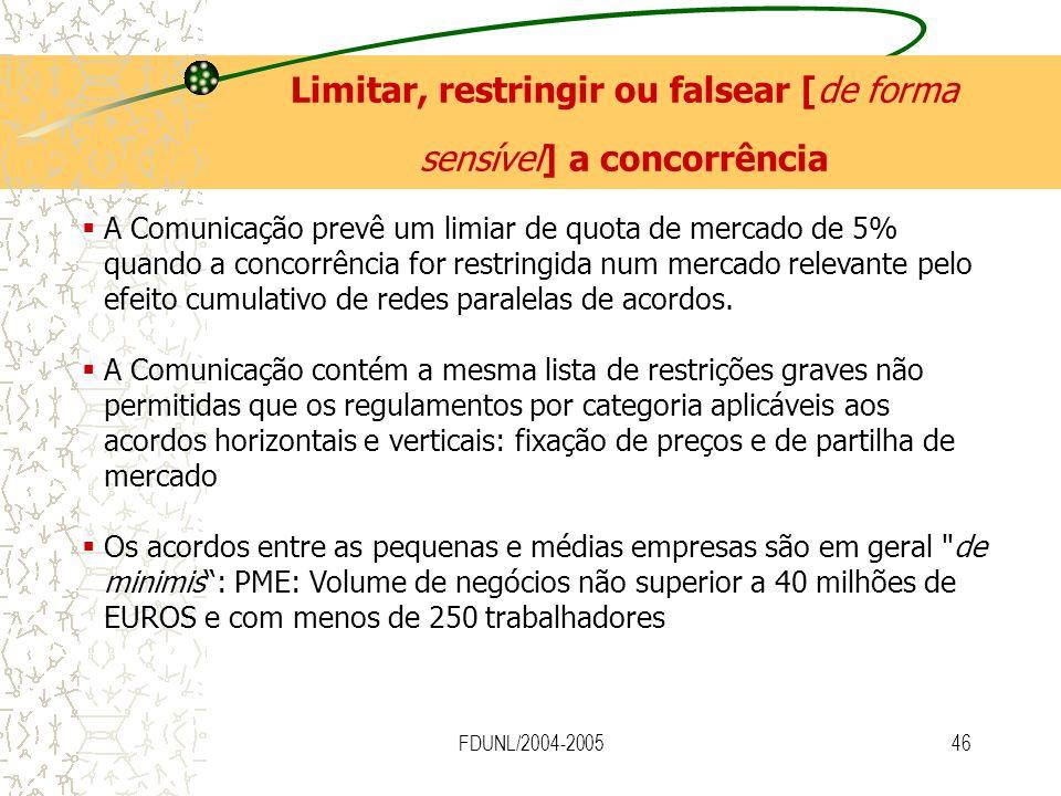 FDUNL/2004-200546 A Comunicação prevê um limiar de quota de mercado de 5% quando a concorrência for restringida num mercado relevante pelo efeito cumu