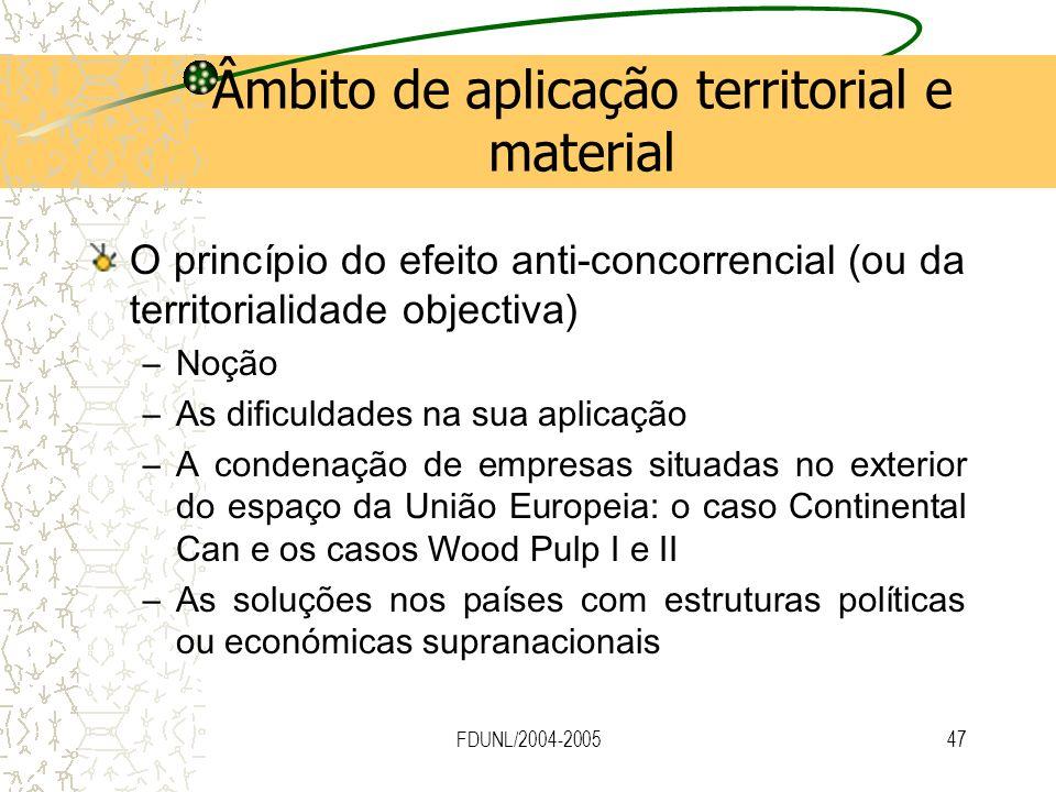 FDUNL/2004-200547 Âmbito de aplicação territorial e material O princípio do efeito anti-concorrencial (ou da territorialidade objectiva) –Noção –As di