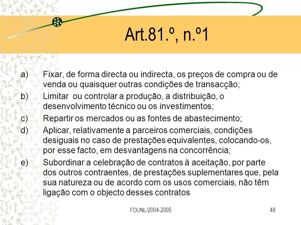 FDUNL/2004-200548 Art.81.º, n.º1 a)Fixar, de forma directa ou indirecta, os preços de compra ou de venda ou quaisquer outras condições de transacção;