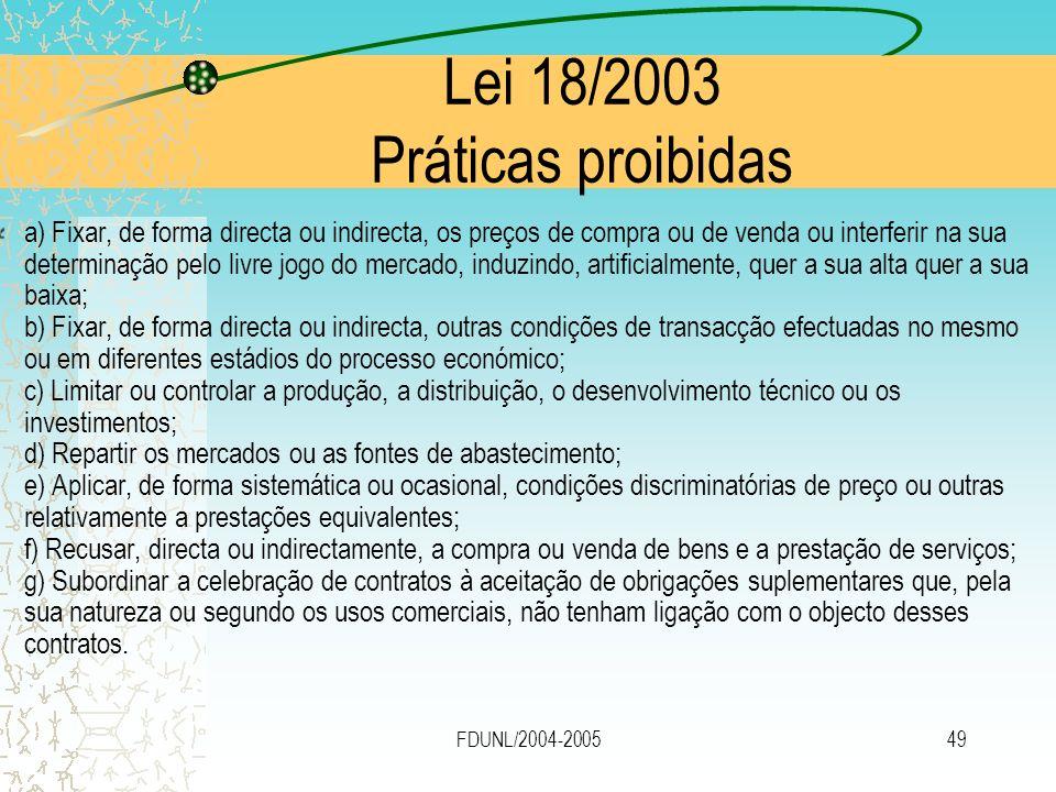 FDUNL/2004-200549 Lei 18/2003 Práticas proibidas a) Fixar, de forma directa ou indirecta, os preços de compra ou de venda ou interferir na sua determi