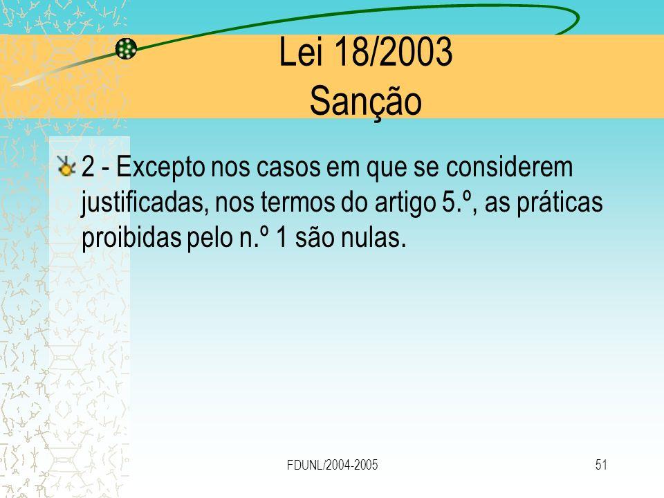 FDUNL/2004-200551 Lei 18/2003 Sanção 2 - Excepto nos casos em que se considerem justificadas, nos termos do artigo 5.º, as práticas proibidas pelo n.º