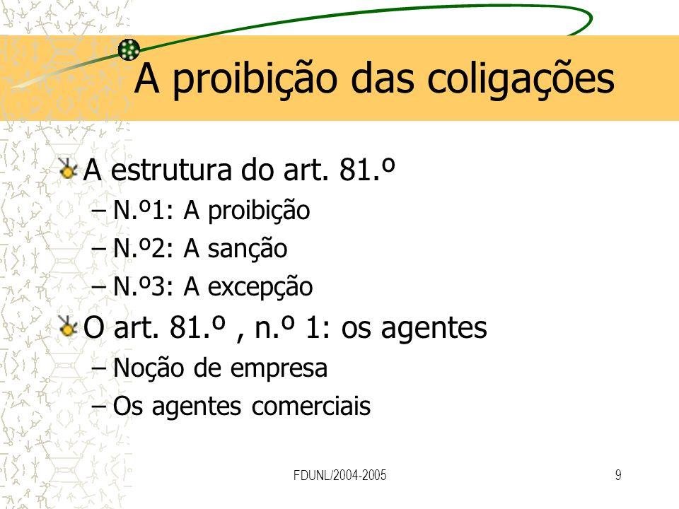 FDUNL/2004-20059 A proibição das coligações A estrutura do art. 81.º –N.º1: A proibição –N.º2: A sanção –N.º3: A excepção O art. 81.º, n.º 1: os agent
