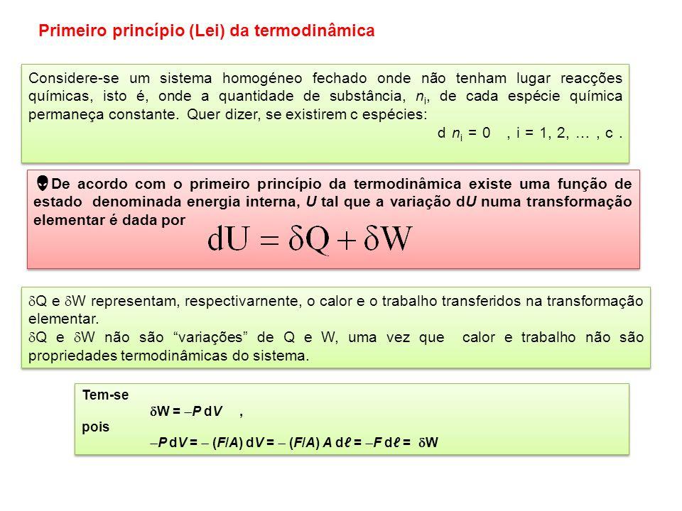 Equilíbrio termodinâmico Interessa considerar os estados de equilíbrio dos sistemas (ou das fases). Diz-se que um sistema está num estado de equilíbri