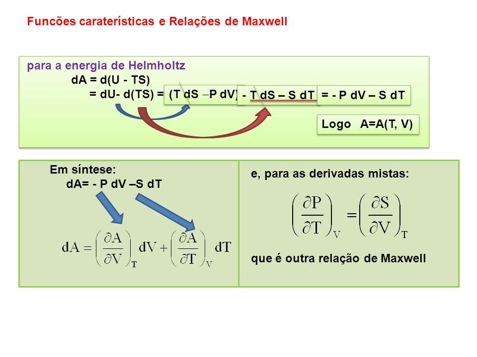 Na forma diferencial ter-se-á: para a entalpia dH = d(U + PV) = dU+d(PV) = Na forma diferencial ter-se-á: para a entalpia dH = d(U + PV) = dU+d(PV) =