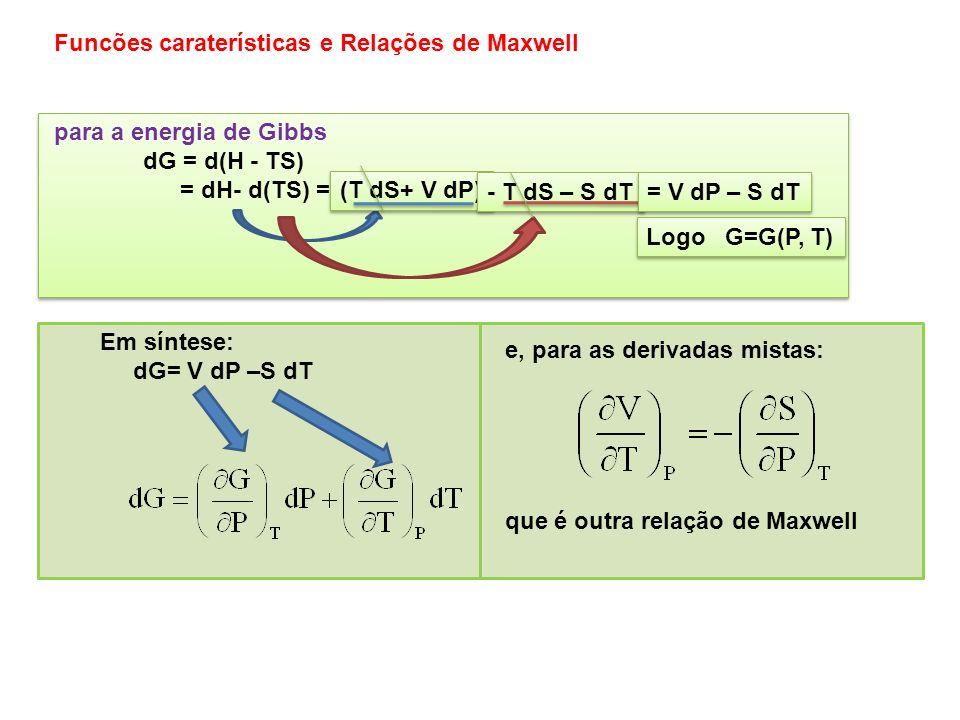 para a energia de Helmholtz dA = d(U - TS) = dU- d(TS) = para a energia de Helmholtz dA = d(U - TS) = dU- d(TS) = (T dS P dV) - T dS – S dT = - P dV –