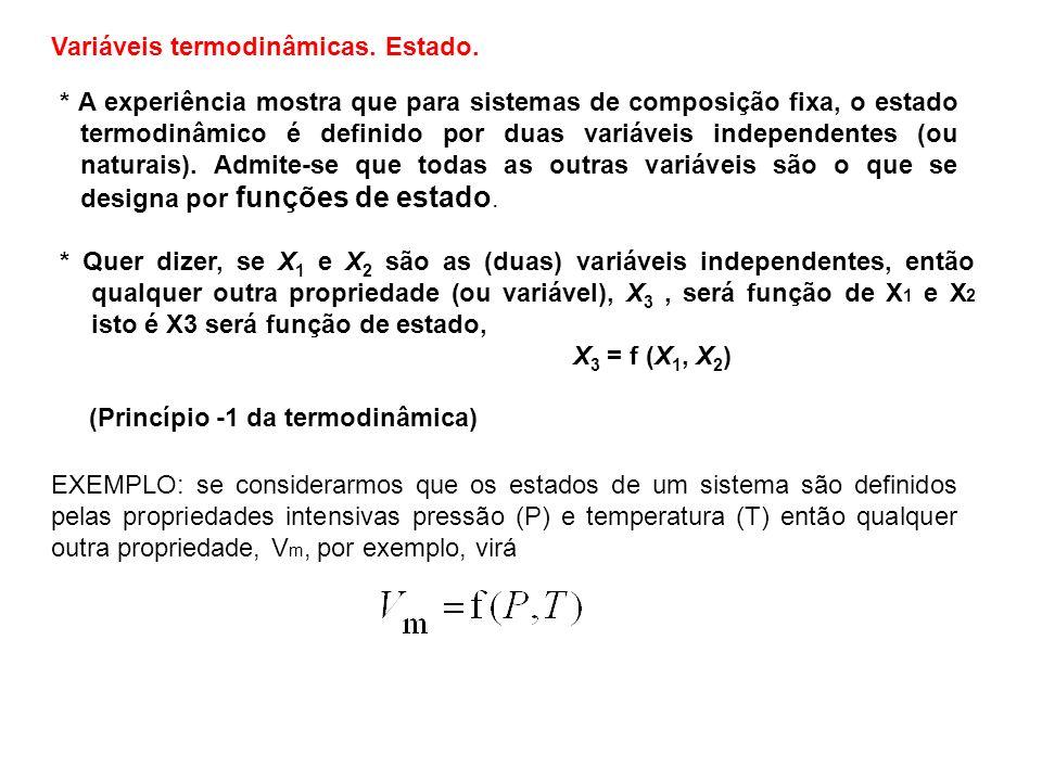 As propriedades termodinâmicas gozam da propriedade geral de a variação do seu valor, nas transformações, só depender dos valores no estado inicial e