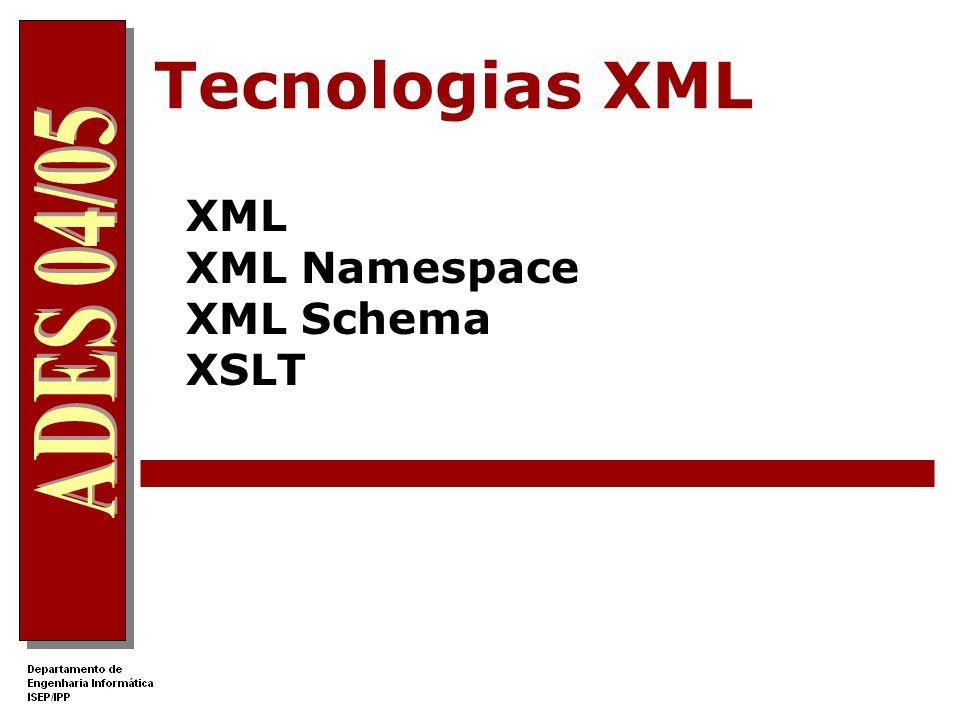 XML namespace Problema: nomes iguais para elementos com semânticas muito diferente XML in a Nutshell Professor Necessidade de qualificar claramente os nomes dos elementos e atributos XML in a Nutshell Professor XML namespace é uma colecção de nomes identificados por um URI (Uniform Ressource Identifier) permitindo associar um prefixo ao nome