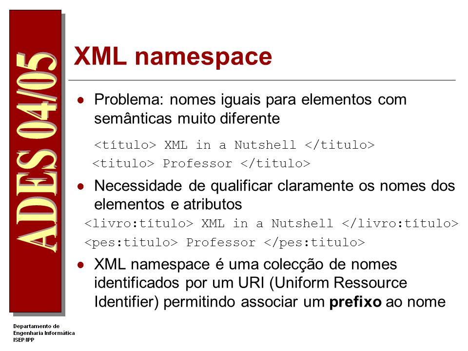 Documento XML bem formado Deve começar com a declaração A anotações de abertura ( ) correspondem anotações de fecho ( ) Um elemento pode ser vazio obr