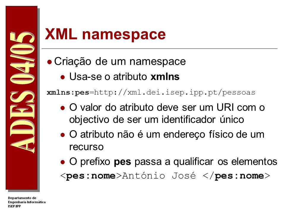 XML namespace Problema: nomes iguais para elementos com semânticas muito diferente XML in a Nutshell Professor Necessidade de qualificar claramente os