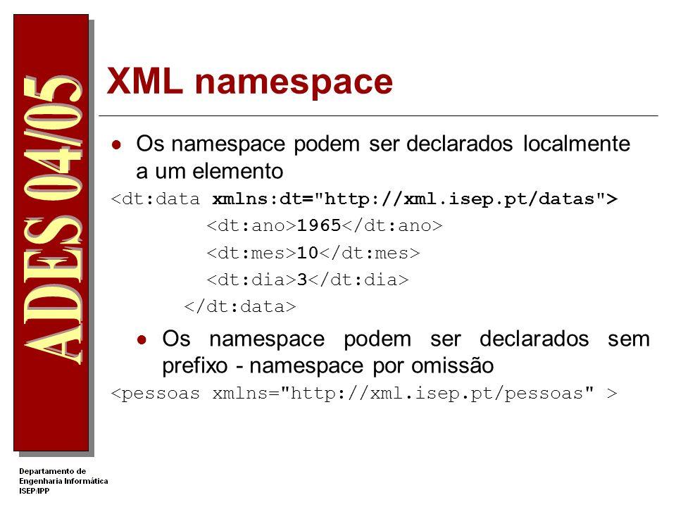 XML namespace Criação de um namespace Usa-se o atributo xmlns xmlns:pes=http://xml.dei.isep.ipp.pt/pessoas O valor do atributo deve ser um URI com o o