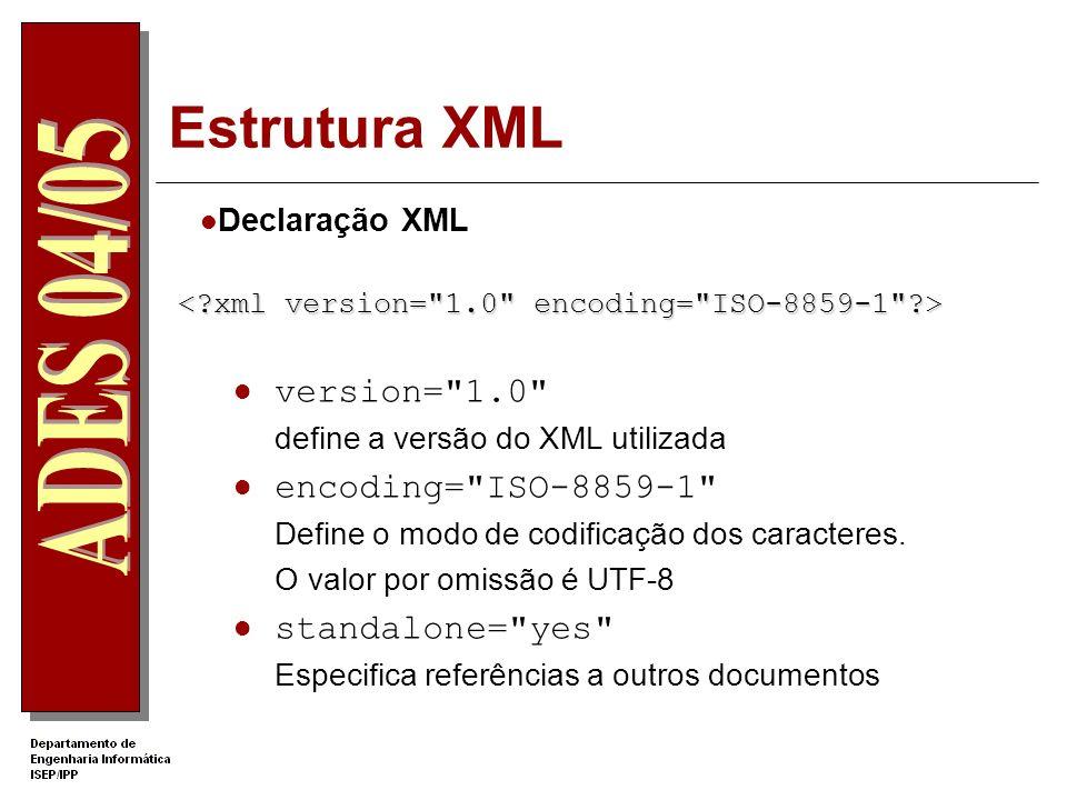 Estrutura XML Declaração XML version= 1.0 define a versão do XML utilizada encoding= ISO-8859-1 Define o modo de codificação dos caracteres.