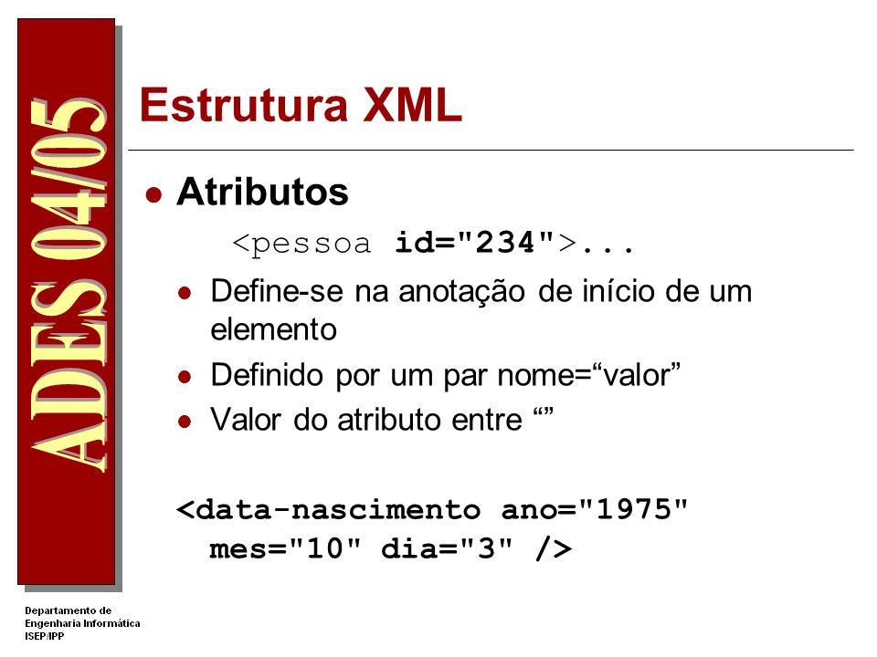 Estrutura XML Regras para o nome de um elemento: O primeiro carácter deverá ser uma letra, um underscore ou um sinal de dois pontos; Os caracteres seg