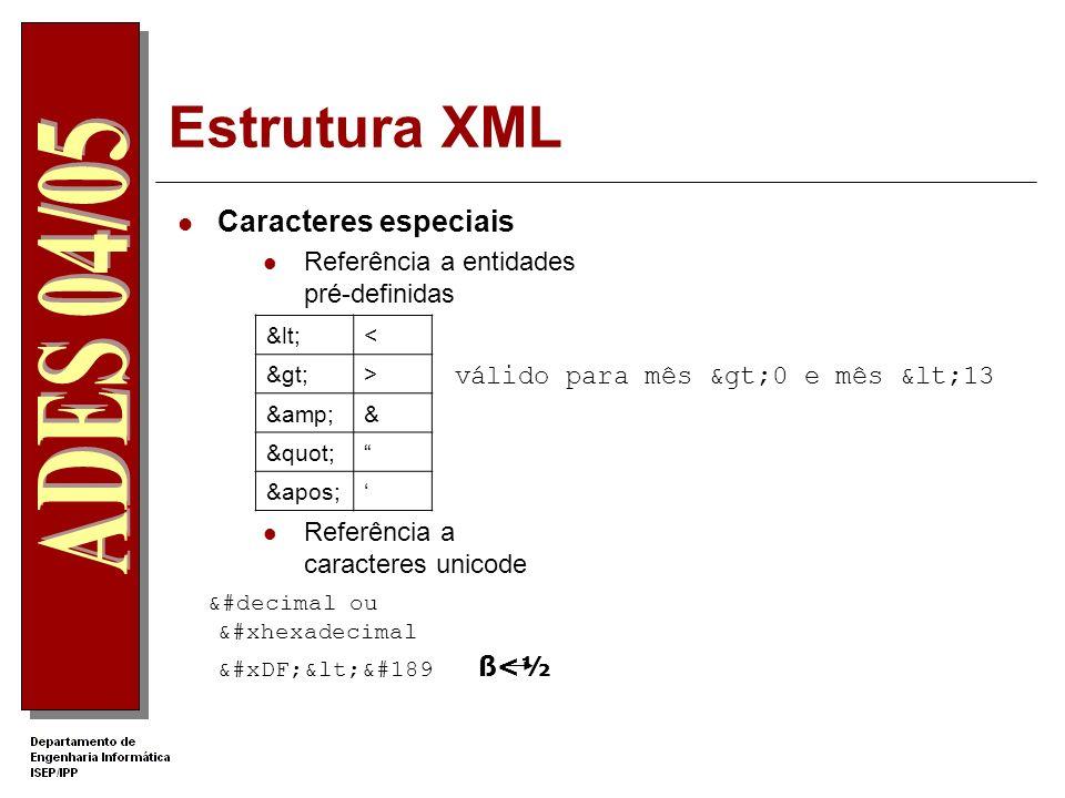 Estrutura XML Caracteres especiais Referência a entidades pré-definidas Referência a caracteres unicode &#decimal ou &#xhexadecimal ß<&#189 ß<½ válido para mês >0 e mês <13 << >> && &apos;