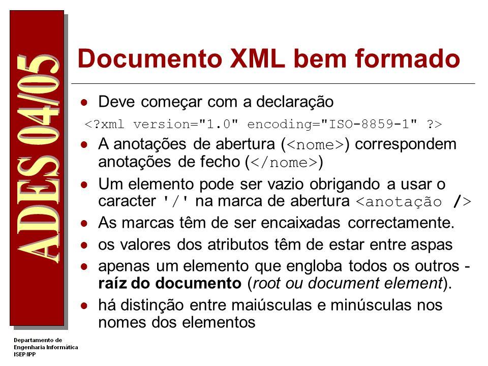Documento XML bem formado Deve começar com a declaração A anotações de abertura ( ) correspondem anotações de fecho ( ) Um elemento pode ser vazio obrigando a usar o caracter / na marca de abertura As marcas têm de ser encaixadas correctamente.