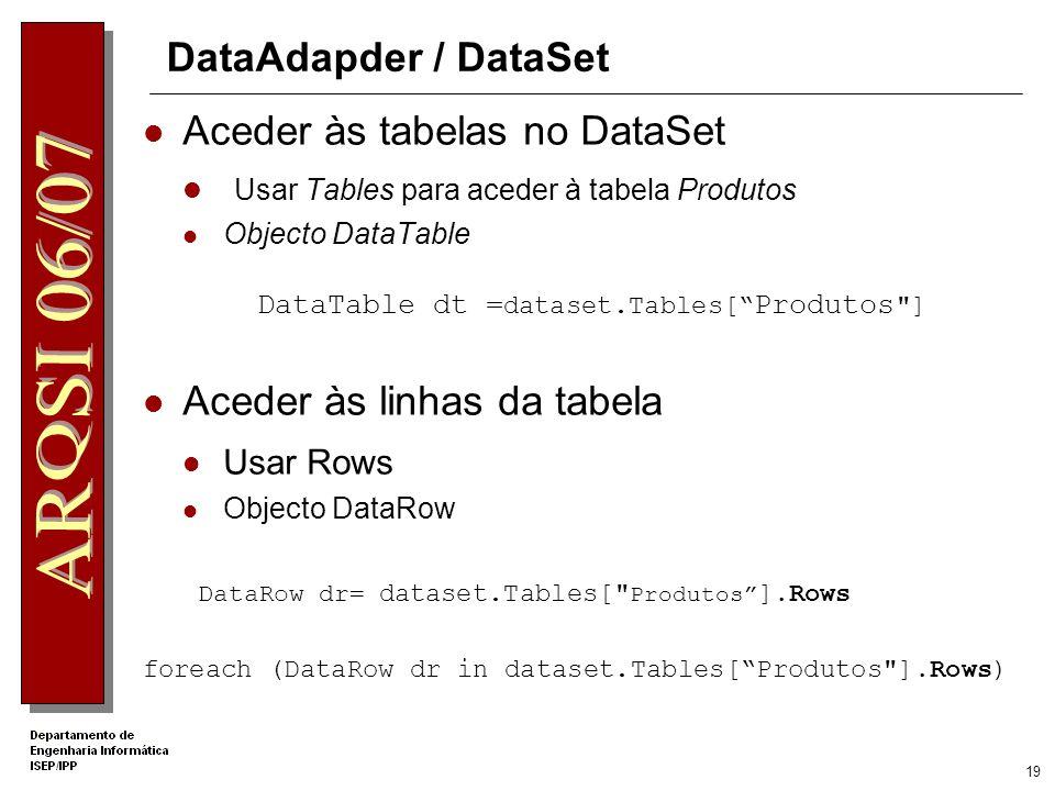 18 DataAdapder / DataSet … String strconn= Provider=Microsoft.Jet.OLEDB.4.0; ….