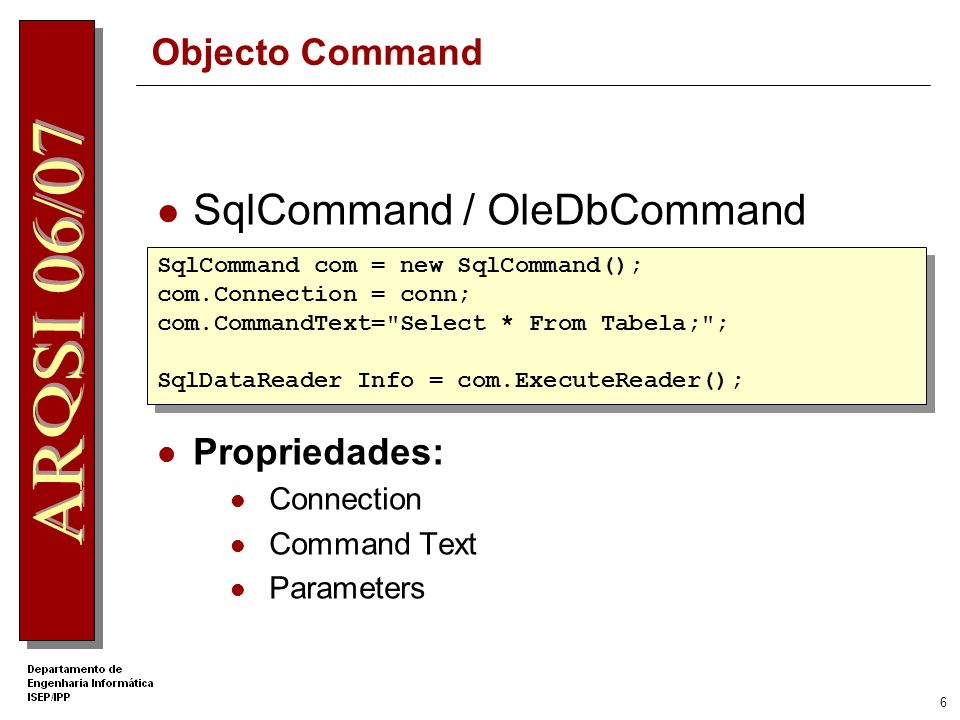 16 Criar um DataAdapter Propriedades do comando SelectCommand Definir os comandos InsertCommand, UpdateCommand, and DeleteCommand, se necessário DataAdapter da.SelectCommand.CommandText da.SelectCommand.Connection da.SelectCommand.CommandText da.SelectCommand.Connection SqlDataAdapter da = new SqlDataAdapter ( select * from Authors ,conn); SqlDataAdapter da = new SqlDataAdapter ( select * from Authors ,conn); da.Insertcommand da.UpdateCommand da.Insertcommand da.UpdateCommand