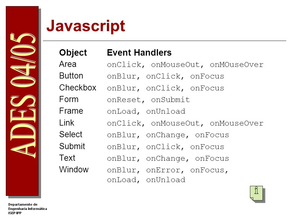 Javascript Object Event Handlers Area onClick, onMouseOut, onMOuseOver Button onBlur, onClick, onFocus Checkbox onBlur, onClick, onFocus Form onReset, onSubmit Frame onLoad, onUnload Link onClick, onMouseOut, onMouseOver Select onBlur, onChange, onFocus Submit onBlur, onClick, onFocus Text onBlur, onChange, onFocus Window onBlur, onError, onFocus, onLoad, onUnload