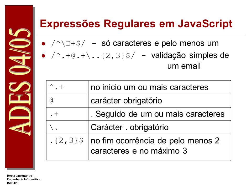 Expressões Regulares em JavaScript /^\D+$/- só caracteres e pelo menos um /^.+@.+\..{2,3}$/ - validação simples de um email ^.+no inicio um ou mais caracteres @carácter obrigatório.+.