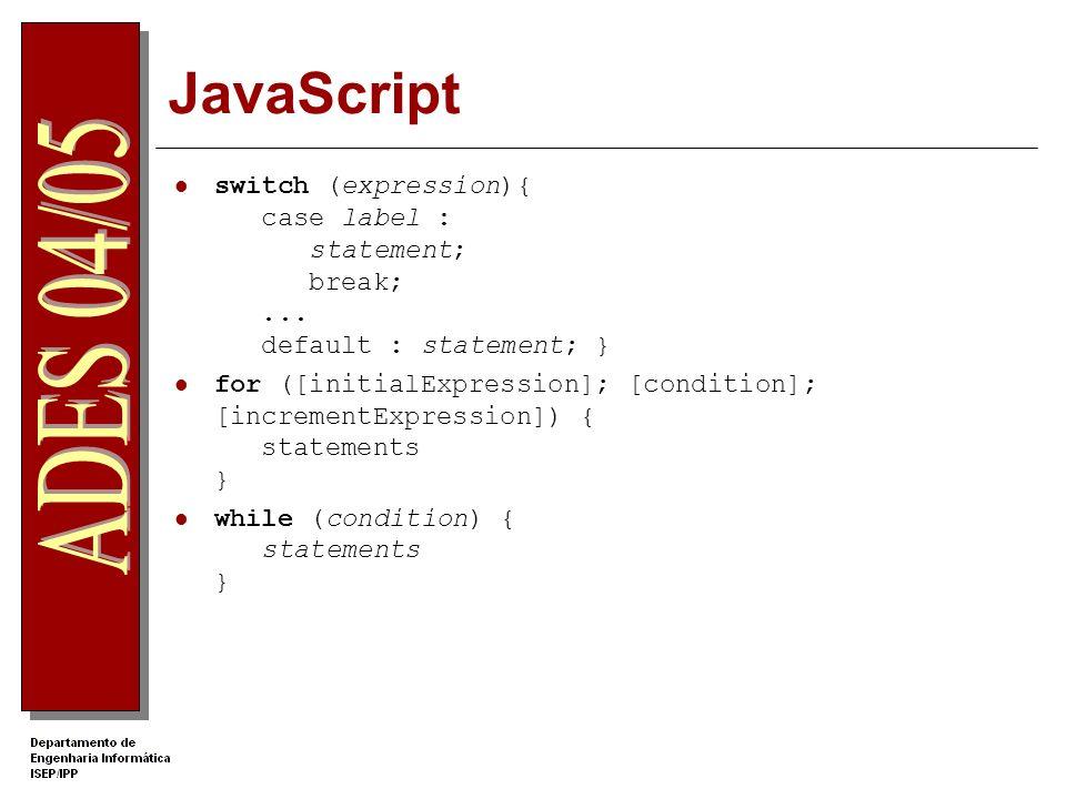 JavaScript switch (expression){ case label : statement; break;...