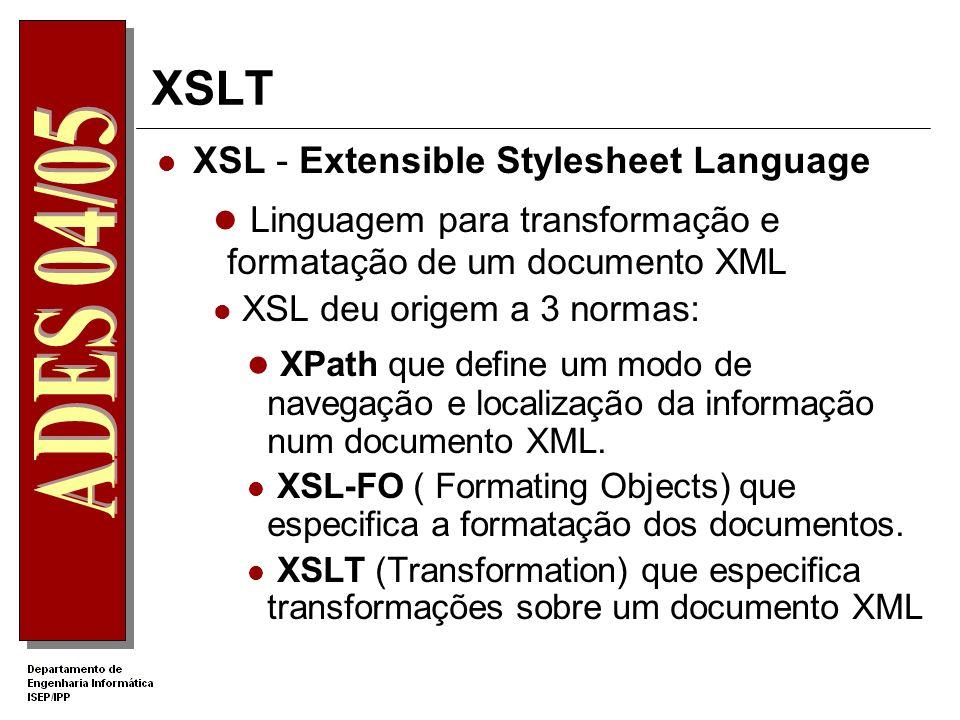 Tecnologias XML Extensible Stylesheet Language Transformation - XSLT