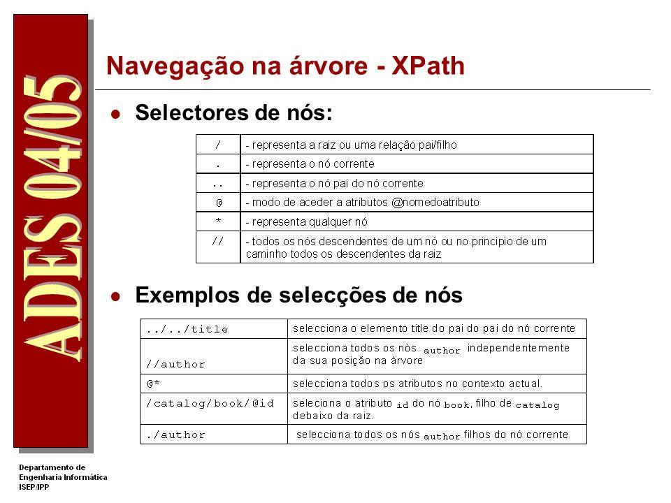 Navegação na árvore - XPath O XSLT usa expressões XPath para localizar nós na árvore do documento de entrada Expressões XPath são usadas nos atributos