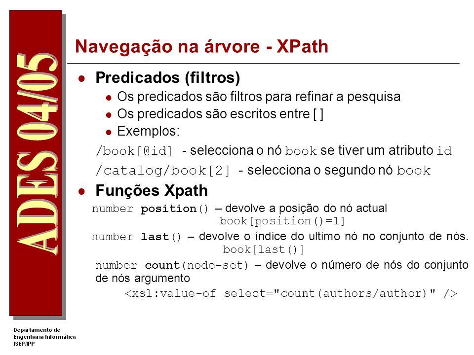 Navegação na árvore - XPath Selectores de nós: Exemplos de selecções de nós