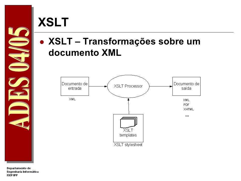 XSLT XSL - Extensible Stylesheet Language Linguagem para transformação e formatação de um documento XML XSL deu origem a 3 normas: XPath que define um modo de navegação e localização da informação num documento XML.