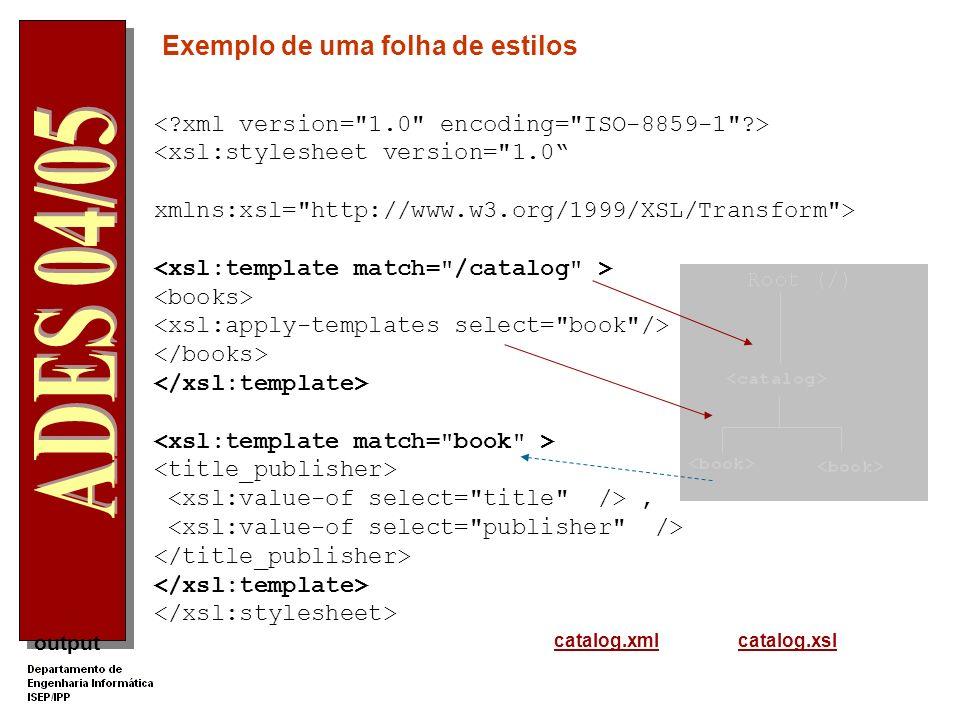 output Um processador XSLT trabalha sobre uma representação em árvore da estrutura hierárquica de um documento XML