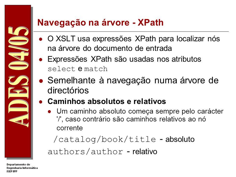Análise da folha catalog.xsl O elemento xsl:apply-templates faz chamada aos outros templates, Todo o texto que não faz parte do espaço de nomes xsl: fará parte do documento resultado.