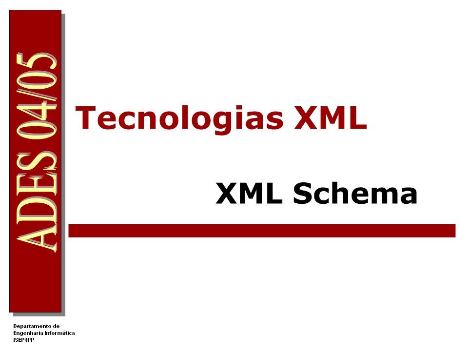 XML Schema Documento XML válido Um documento Schema especifica as regras para a validação de um documento XML Um Schema especifica: Os elementos e atributos que podem constar do documento A ordem e número dos elementos filhos Tipos de dados para os elementos e atributos Um Schema define uma classe de documentos.
