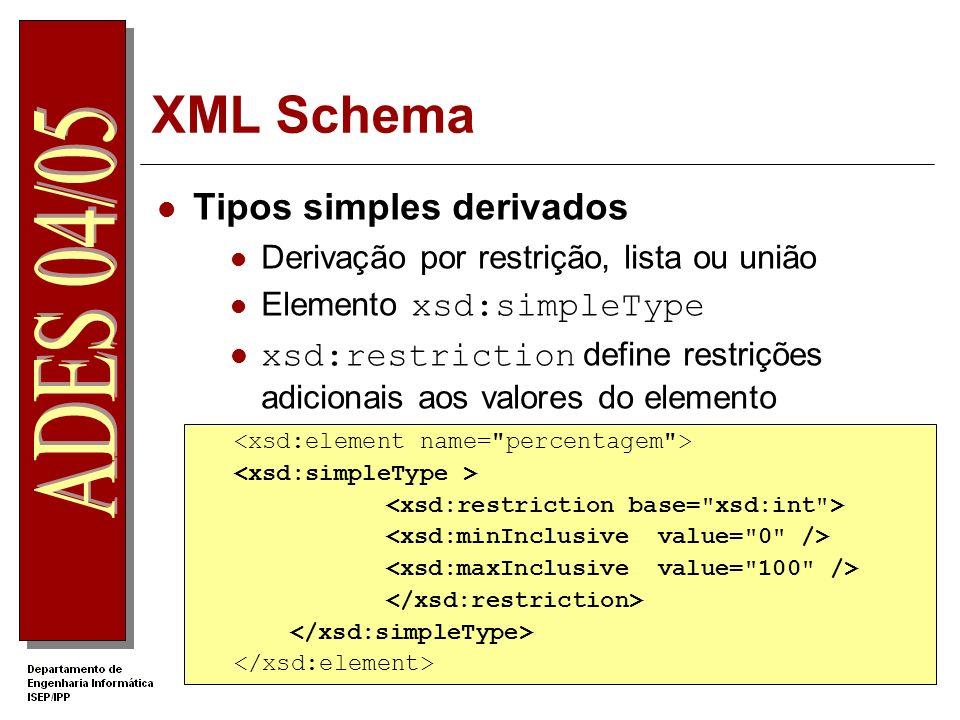 XML Schema Operadores de restrição – facets xsd:minInclusive - >= xsd:maxInclusive - <= xsd:length – tamanho fixo (string, listas) xsd:totaldigits – o numero máximo de dígitos xsd:pattern – expressão regular xsd:fractionDigits - número de casas decimais.