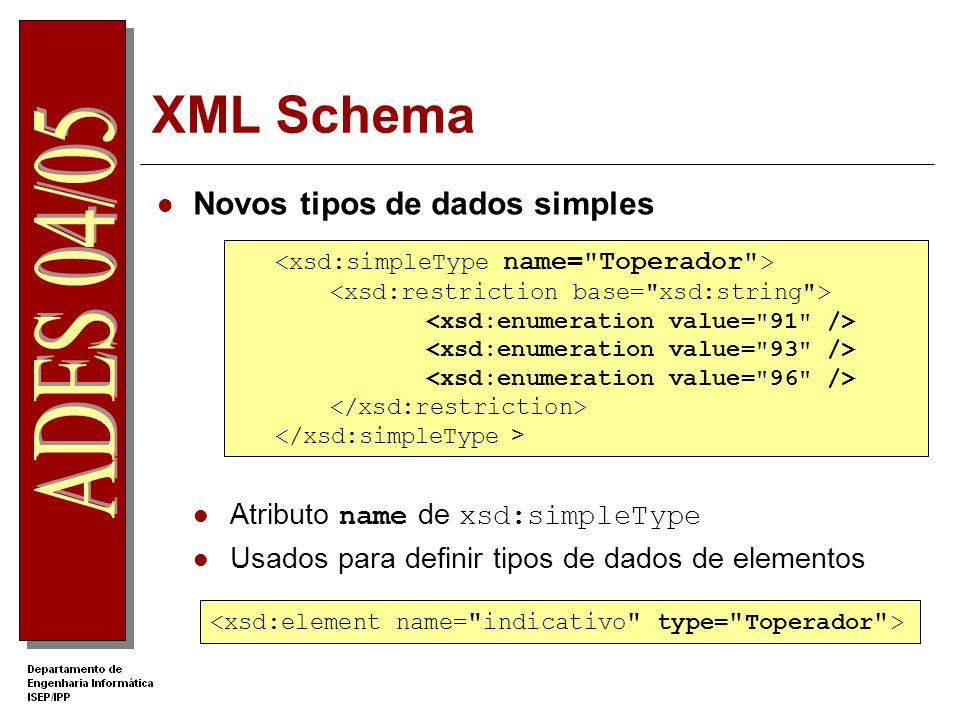 XML Schema Exemplos de restrições xsd:length xsd:pattern