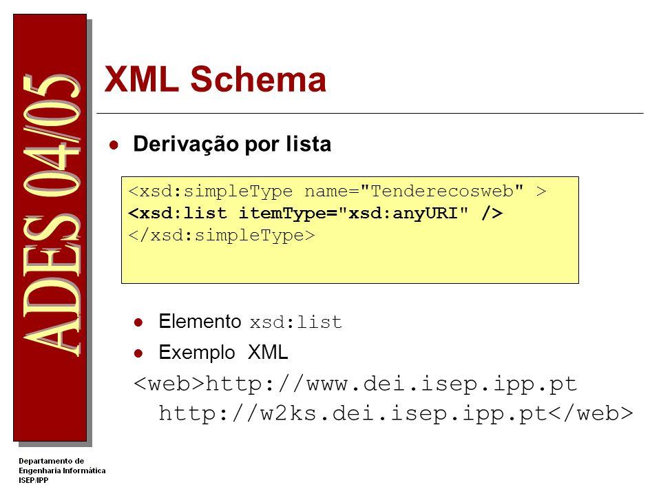 XML Schema Tipo Composto Os elementos de tipo composto podem conter elementos filhos e atributos Um elemento com atributos é sempre do tipo composto declarado usando o elemento complexType