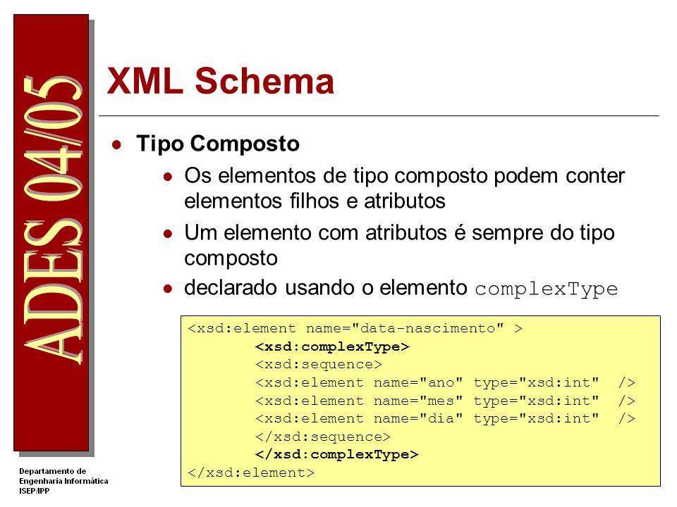 XML Schema Composição dos sub-elementos num tipo composto sequence – especifica uma sequência com uma ordem fixa choice - especifica uma escolha de um elemento, entre os elementos declarados all – elementos são opcionais (?) e não têm ordem fixa