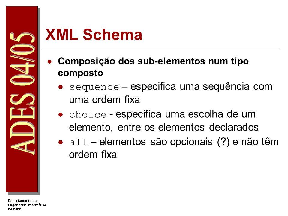 XML Schema Restrições de ocorrência definir o modo como os elementos ocorrem Atributos minOccurs e maxoccurs Usados nos operadores de composição ou na declaração de elementos