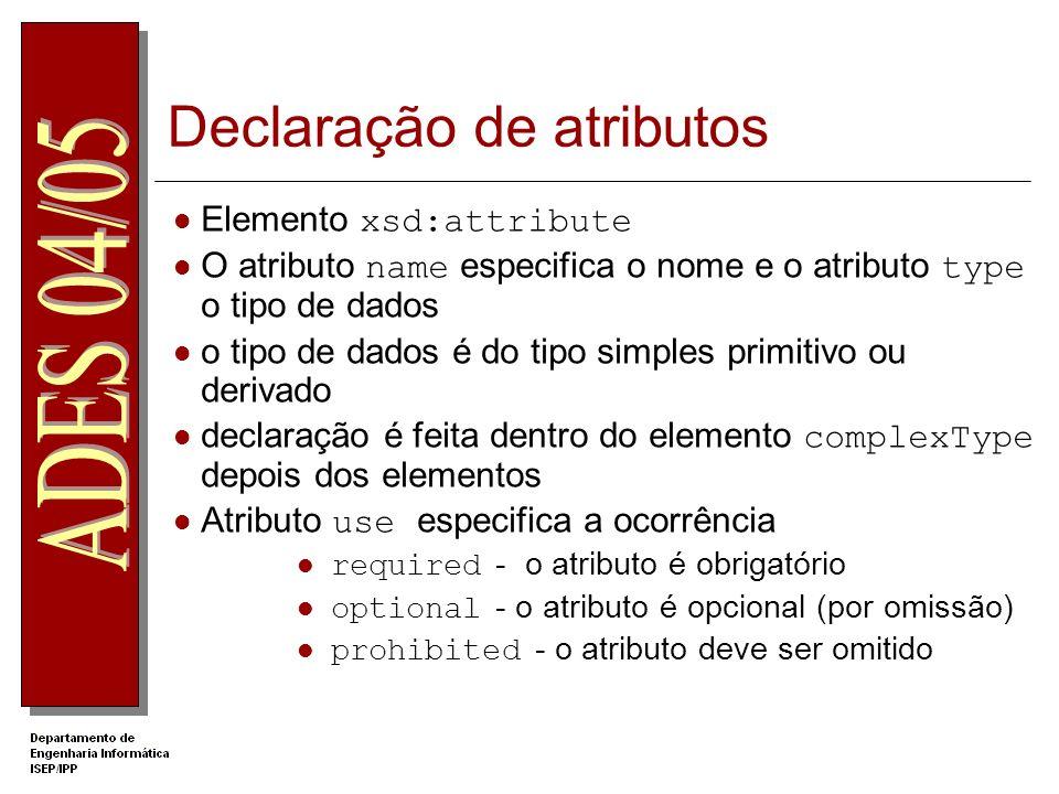 Exemplo Schema com atributos Atributo depois dos elementos António José Silva 2004-07-12