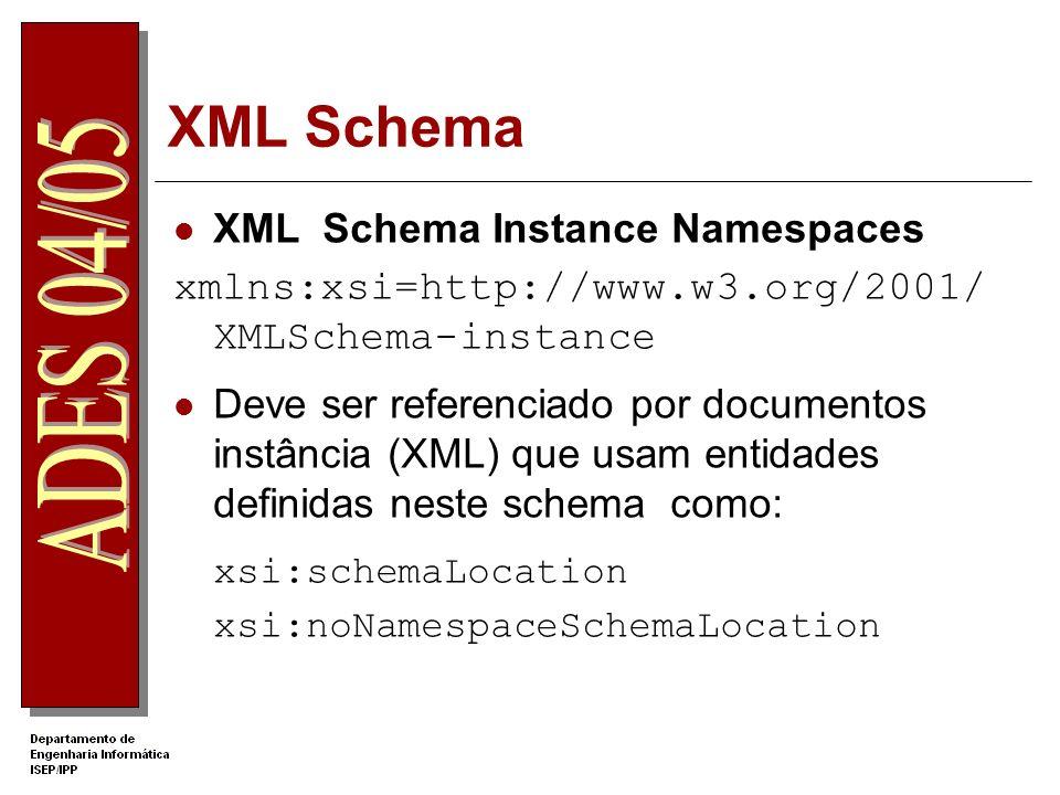 XML Schema Referenciar um Schema no XML – (1) Atributo xsi:noNamespaceSchemaLocation Documento pessoas.xsd <pessoas xmlns:xsi= http://www.w3.org/2001/XMLSchema- instance xsi:noNamespaceSchemaLocation=pessoas.xsd >...