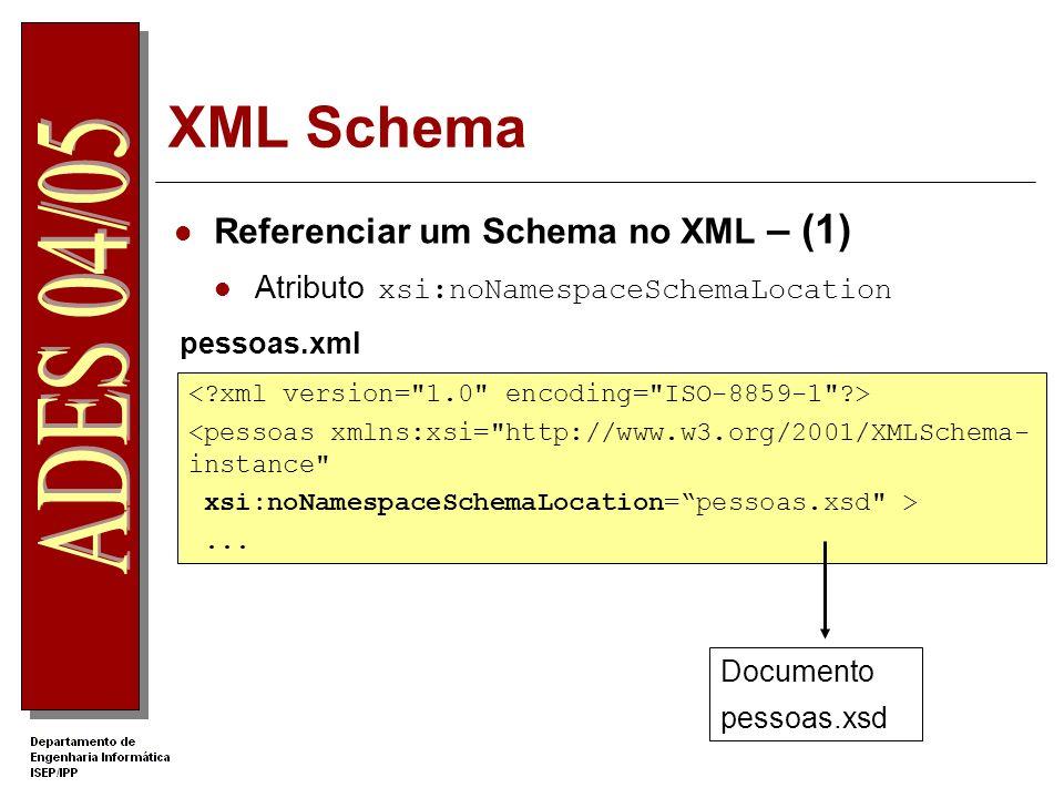 XML Schema Referenciar um Schema no XML – (2) Atributo xsi:schemaLocation pessoas.xml pessoas.xsd <pessoas xmlns=http://your_namespace xmlns:xsi=http://www.w3.org/2001/XMLSchema-instance xsi:schemaLocation= http://your_namespace pessoas.xsd >...