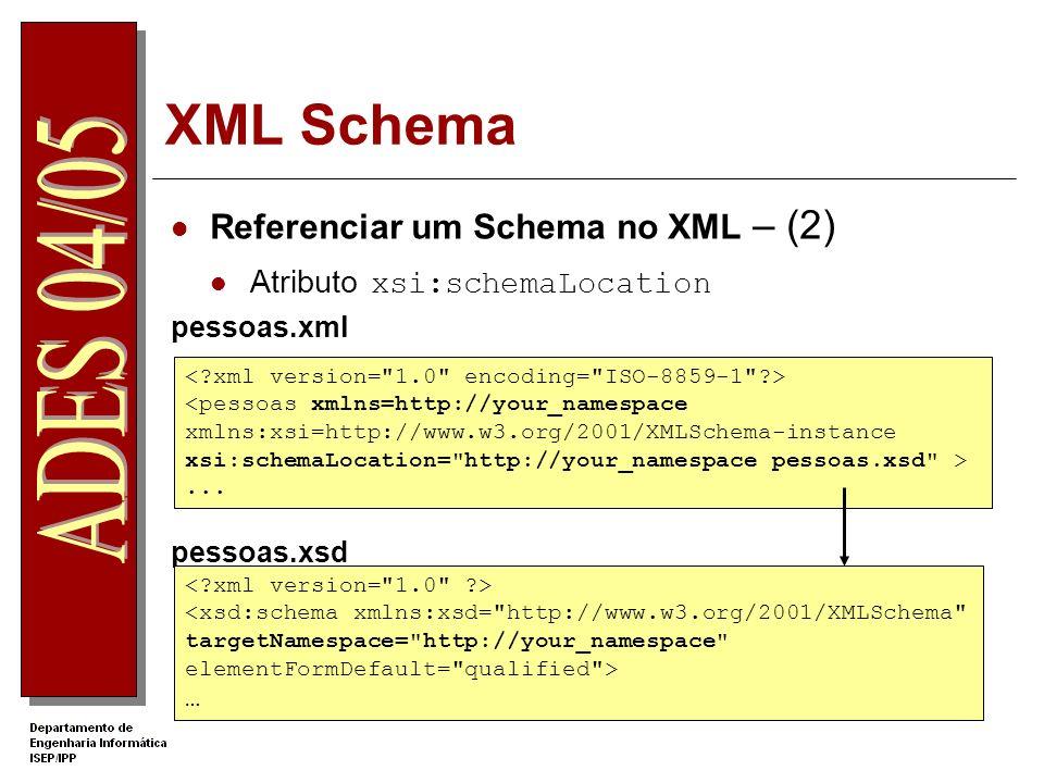XML Schema Definição de elementos Elemento xsd:element O atributo name especifica o nome do elemento no XML O atributo type define o tipo de dados do elemento 123.56