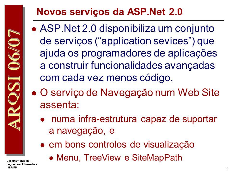 1 Novos serviços da ASP.Net 2.0 ASP.Net 2.0 disponibiliza um conjunto de serviços (application sevices) que ajuda os programadores de aplicações a construir funcionalidades avançadas com cada vez menos código.