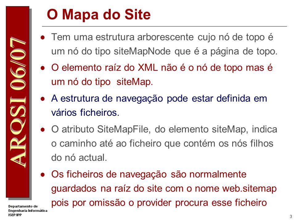 3 O Mapa do Site Tem uma estrutura arborescente cujo nó de topo é um nó do tipo siteMapNode que é a página de topo.