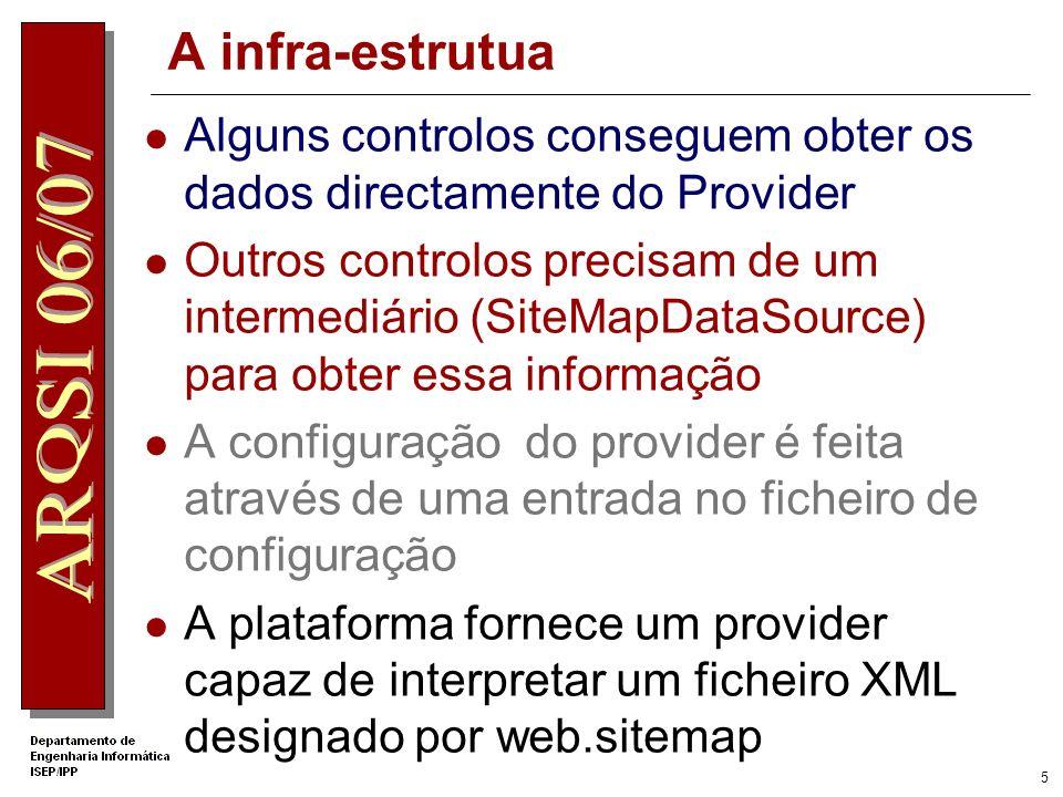 5 A infra-estrutua Alguns controlos conseguem obter os dados directamente do Provider Outros controlos precisam de um intermediário (SiteMapDataSource) para obter essa informação A configuração do provider é feita através de uma entrada no ficheiro de configuração A plataforma fornece um provider capaz de interpretar um ficheiro XML designado por web.sitemap