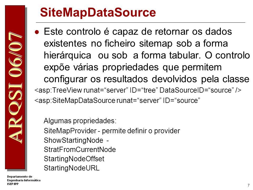 7 SiteMapDataSource Este controlo é capaz de retornar os dados existentes no ficheiro sitemap sob a forma hierárquica ou sob a forma tabular.