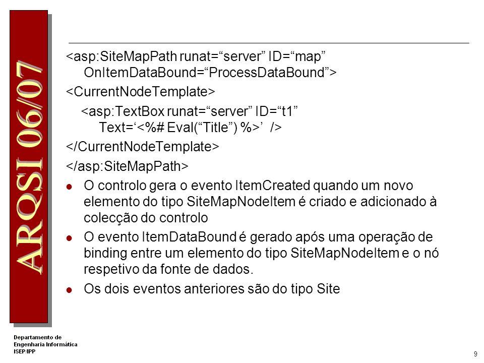 9 /> O controlo gera o evento ItemCreated quando um novo elemento do tipo SiteMapNodeItem é criado e adicionado à colecção do controlo O evento ItemDataBound é gerado após uma operação de binding entre um elemento do tipo SiteMapNodeItem e o nó respetivo da fonte de dados.