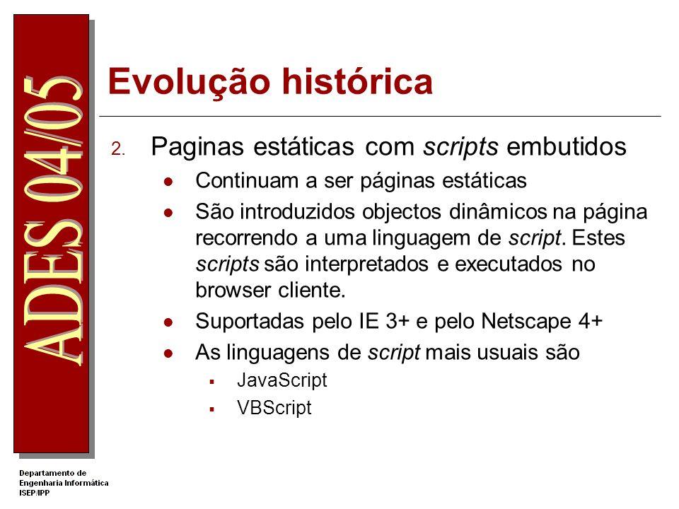 Evolução histórica 1. Páginas simplesmente estáticas O servidor Web é simplesmente um repositório de páginas (ficheiros HTML) que são enviados para o
