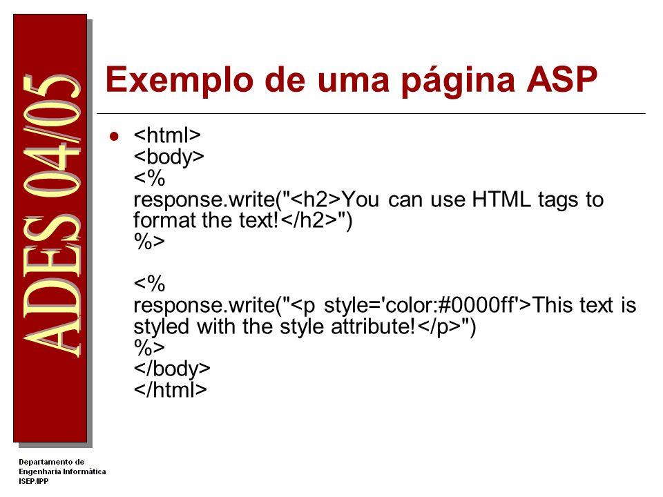Exemplo de uma página ASP Your name: