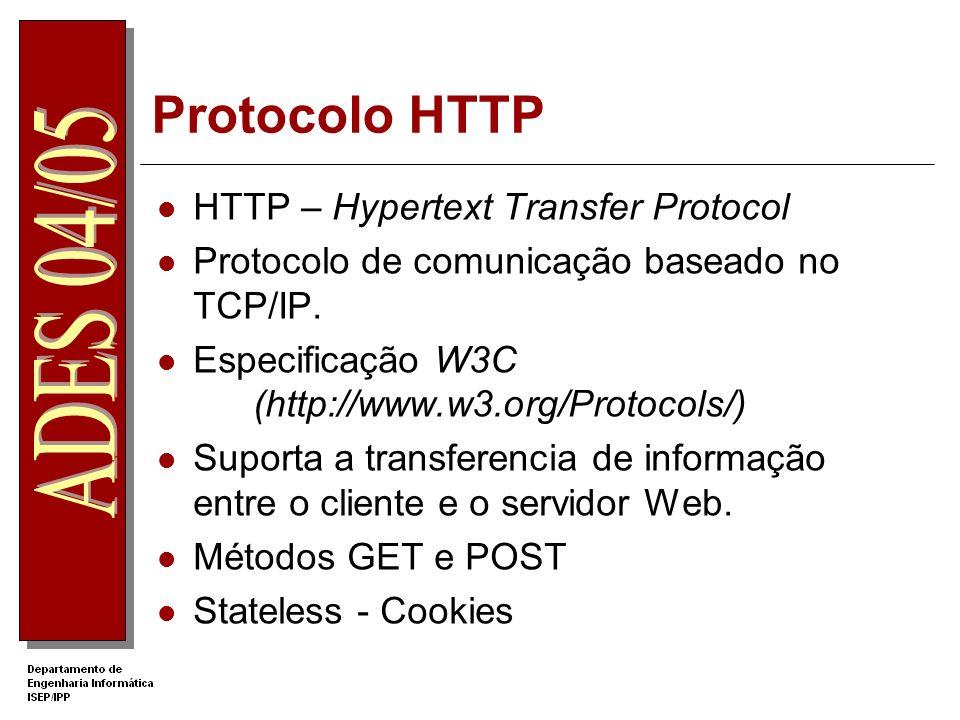 Protocolo HTTP HTTP – Hypertext Transfer Protocol Protocolo de comunicação baseado no TCP/IP.