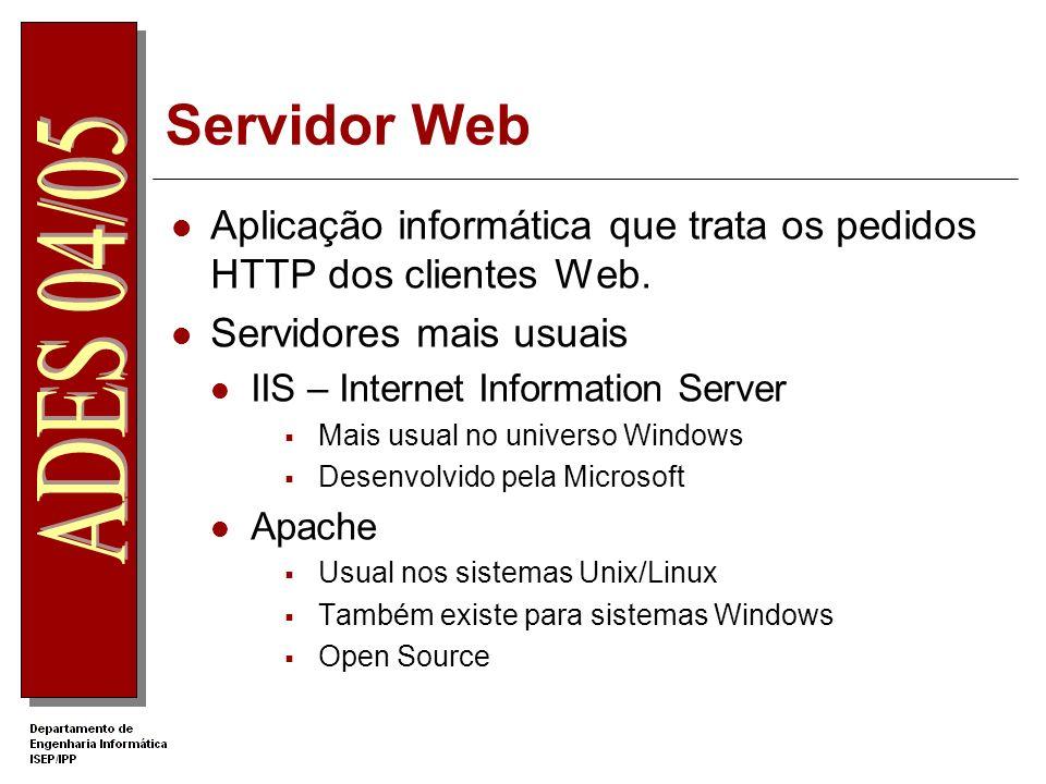 Servidor Web Aplicação informática que trata os pedidos HTTP dos clientes Web.